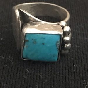 Custom Made Turquoise and Sterling Ring. Size 6